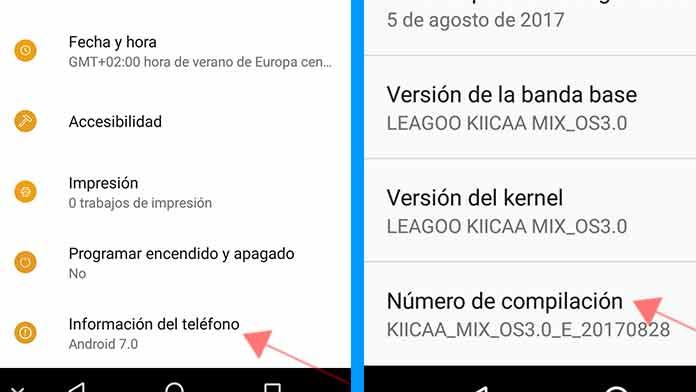 modo desarrollador en Android
